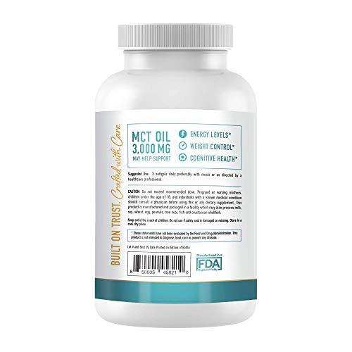 MCT Oil Softgels 3000mg - 300 Coconut MCT Oil Supplement Softgels - Perfect Keto Softgels - C10 (Capric Acid) and C8 (Caprylic Acid) Coconut Oil to Lose Weight - MCT Oil, Brain Octane Oil*