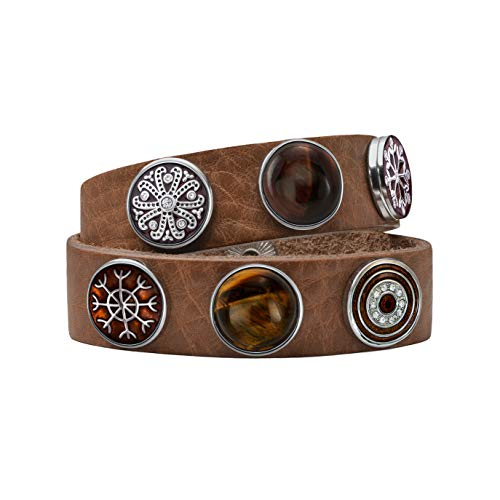 Quiges Damen 18mm Druckknopf Armband aus Leder Braun mit Braune Click Buttons