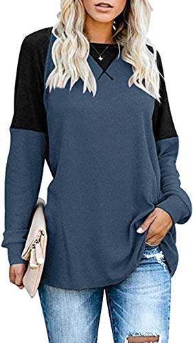 Herdress - Camiseta de manga larga para mujer, estilo casual, con costura decorativa, color de contraste Navy-010 38/40 EU/M