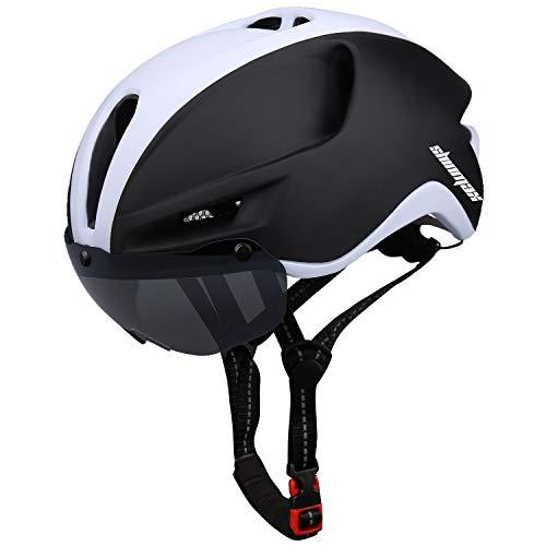 Shinmax Casco Bici,Casco Bici da Corsa con Luce LED,Certificato CE &Riflettente della Cintura di Sicurezza,Casco Bici Uomo con Visiera Parasole Rimovibile,Adulto Casco per Bici 57-62CM (RC-088)