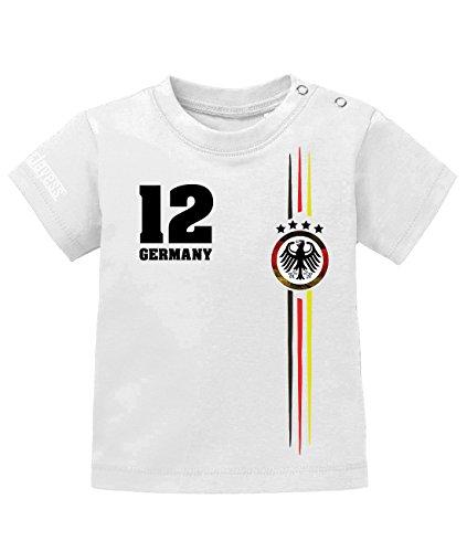 Jayess WM 2018 - Deutschland Logo Rund - Baby T-Shirt in Weiss by Gr. 56/62