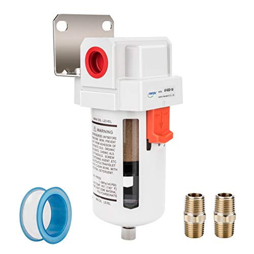NANPU 1/2' NPT Compressed Air Line Filter, 5 Micron Brass Element, Bracket, Poly Bowl, 145 psi