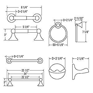 "4-Piece Bathroom Hardware Accessory Set With 24"" Towel Bar - Satin Nickel"