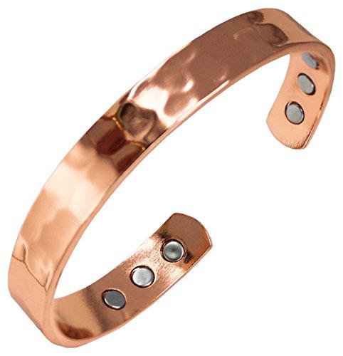 Pulseira de cura magnética martelada de cobre puro para artrite, enxaqueca e alívio da dor nas articulações – Tamanho durável – Terapia