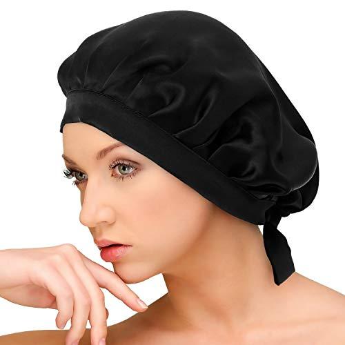 AQshop comfort silk ナイトキャップ シルク100% ロングヘア対応 サイズ調節紐付き つや髪 保湿 bd (ブラック)