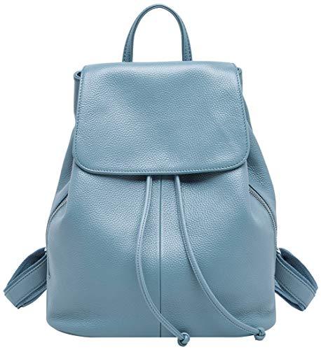 BOYATU Leder Rucksack für Frauen Mini Daypack Kleine Schulter Handtasche Reisetasche Elegantes Blau