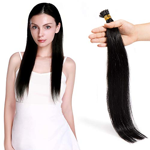 Extension Cheveux Naturel Pose a Froid Pre Bonded I Tip 1g - 50 Mèches/50G - Remy Human Hair - 50CM - #1 NOIR FONCE