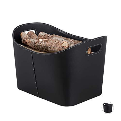 Relaxdays, schwarz Kaminholzkorb Kunstleder XL, Stabiler Feuerholzkorb mit Tragegriffen, für Brennholz & Zeitungen, oval