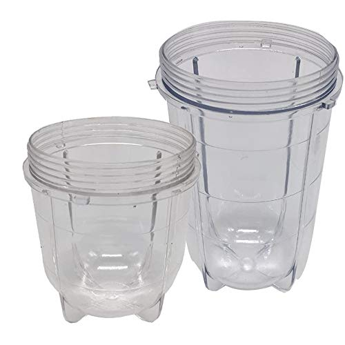 Replacement 16oz tall cup and 12oz short cups set for Magic bullet,MB1001/MB 1001B/MBR-1701 /MBR-1702 /MBR-1101 /MB-BX1770-02/MBR-030 Fits Original Magic Bullet Blender Juicer,e(1tall cup+1 short cup) New York