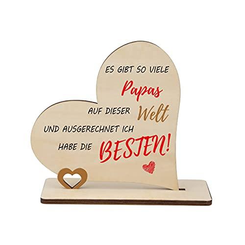 Funnli Idea de regalo para papá, hecho a mano, corazón madera con frase, el Día del Padre y cumpleaños, hogar, decoración madera, 14 x cm, luces multicolor en la caja