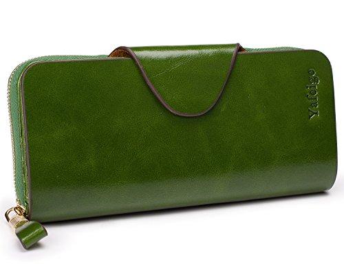 Yafeige Large Luxury Women's RFID Blocking Tri-fold Leather Wallet Zipper Ladies Clutch Purse(1-Waxed Green)
