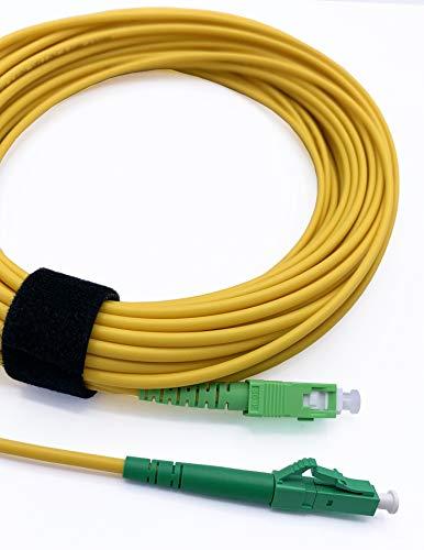 Elfcam® - LWL Glasfaser-Kabel SC/APC auf LC/APC Stecker, Simplex 9/125μm Patchkabel, Lichtwellenleiter LSZH, 0,5 Meter