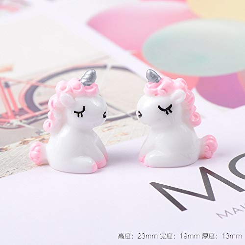 XDXY Ambachten Beeldje 1 Leuke Cartoon Mini Eenhoorn Model Poppenpop Ornament Miniatuur Hanger Ketting Oorbellen Hoofddeksels Diy