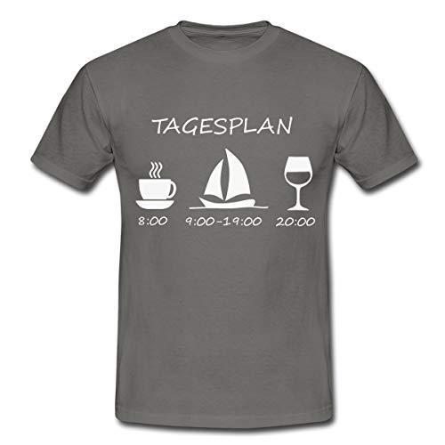 Segeln Tagesplan Kaffee Segelschiff Wein Männer T-Shirt, S, Graphite