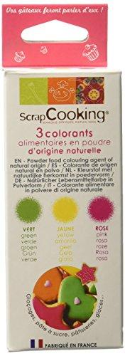 Scrapcooking - 3 Colorants alimentaire en poudre d'origine Naturel- 29 g