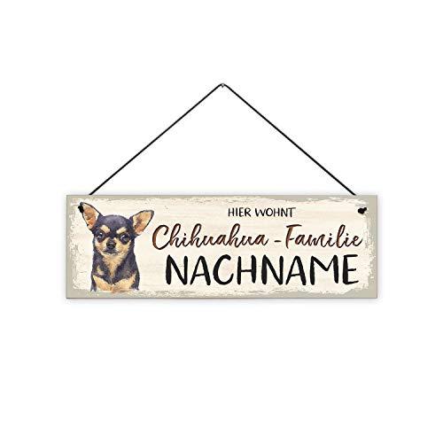 Fashionalarm Holzschild - bunt - Hier wohnt Chihuahua-Familie Bedruckt mit Spruch   Tür-Schild personalisiert Nachname Geschenk Hunde-Besitzer, ca. 30x10 cm, 8 mm