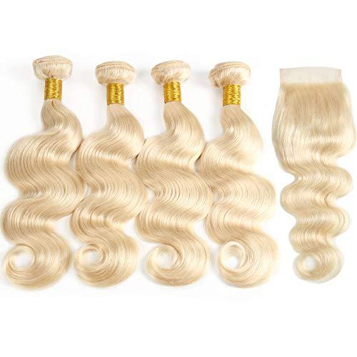 613 Bundles with Closure Brazilian Body Wave Human Hair Bundles with Closure 100% Human Hair Weave with Lace Closure 50g/bundle (10