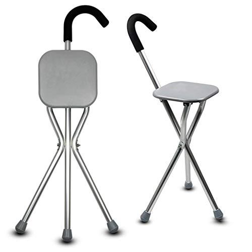 Silla con muletas bastón con Asiento Plegable Taburete de Aluminio Ligero Taburete Antideslizante de Tres Patas Apto para Padres Mayores Plateado