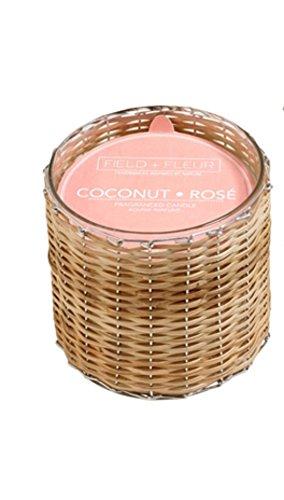 Coco Rose field43; Fleur Reed (2mechas tejida a mano, 12oz vela perfumada Jar 8oz