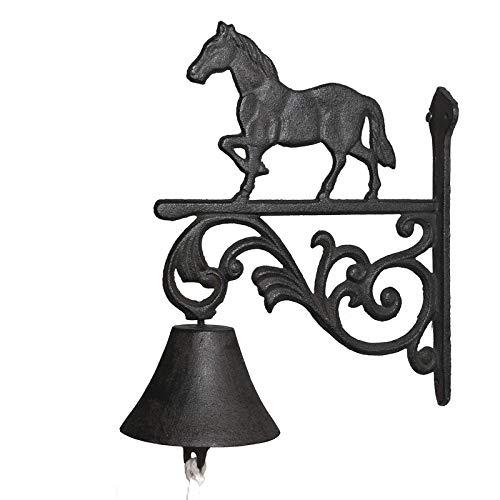Chemin_de_campagne Türglocke, Wandglocke, Pferd, aus Gusseisen, 27,5 cm x 22 cm x 10 cm