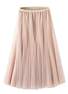 Tulle Skirt for Women Skirts Midi Length Tulle Skirt A-Line Knee Length Skirt High Waist Princess Skirt