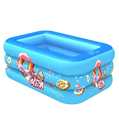 YANXS Piscina Hinchable para Niños Rectangular Azul Piscina Infantil Plegable Multifuncional Piscina para Bebés Gruesa y Duradera Piscina Inflable Jardín al Aire Libre,150cm 3 Layers