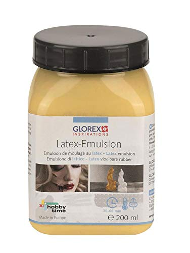 Glorex 6 2703 000 - Latex Emulsion, 200 ml, lufthärtende, natürliche Formbaumasse auf 1-Komponentenbasis vom Kautschukbaum, hautverträglich, färbbar