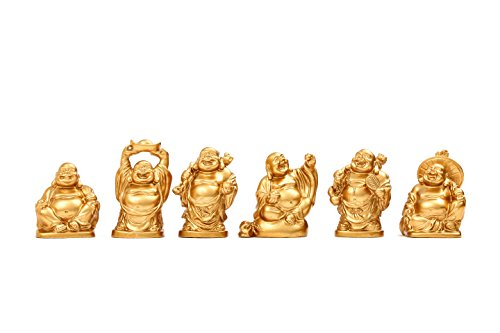 Feng Shui 2'' Golden Resin Laughing Buddha Statue Figurines Set of 6 (Samll Gold)