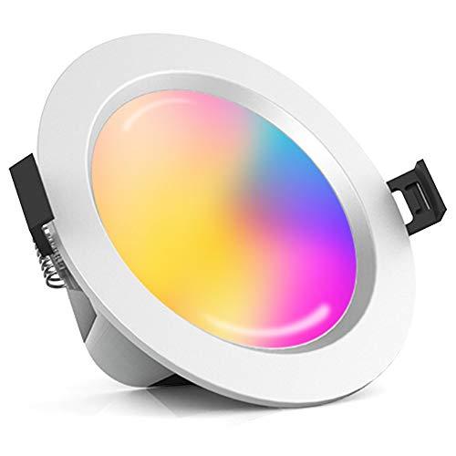 Foco LED empotrable de 15 W, 1200 lm, con Bluetooth, RGBW + CCT, 5 en 1, 230 V, regulable, de acero, para techo o salón