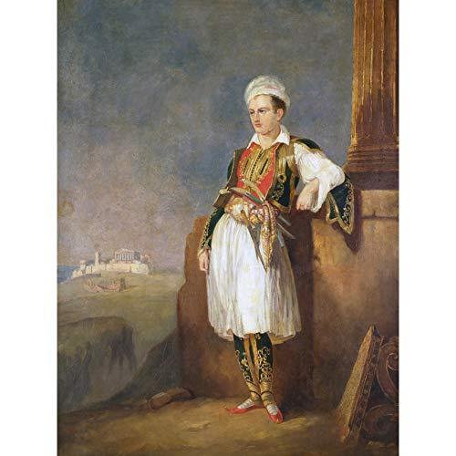 Portret dichter Lord Byron Griekse kostuum koninklijke historische grote ingelijste Art Print