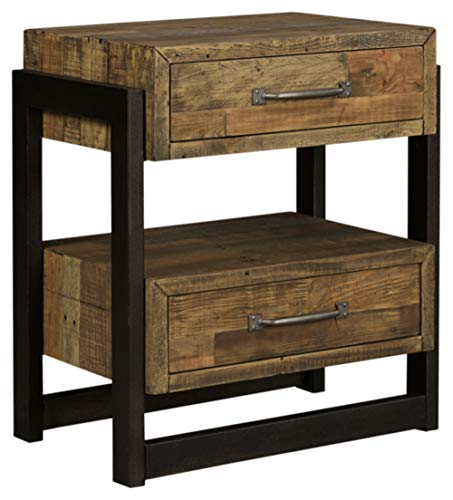 Signature Design by Ashley Sommerford Industrial Farmhouse 2 Drawer Nightstand, Butcher-Block Brown & Black
