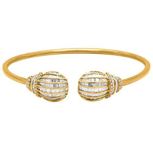 10K 純金 ラウンド&バゲット 本物のダイヤモンド クラスター オープンカフ バングル ブレスレット 女性用 (1.50カラット)
