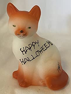 Fenton Art Glass Sitting Cat Airbrushed & Sand Carved w/Halloween