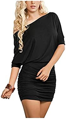 Anxihanee Women's Off Shoulder Bat Sleeve Party Club Ruched Bodycon Mini Dress