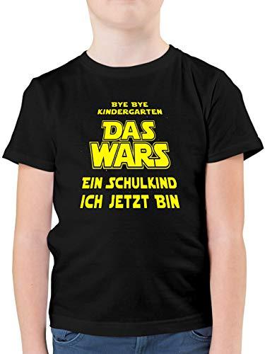 Einschulung und Schulanfang - Bye Bye Kindergarten - Das Wars - EIN Schulkind ich jetzt Bin - 128 (7/8 Jahre) - Schwarz - t-Shirt ich Wars - F130K - Kinder Tshirts und T-Shirt für Jungen
