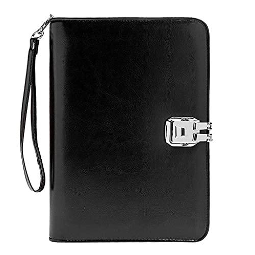 Notebook in Pelle di Fascia Alta Password Lock LOUND-Leaf Journal A5, Blocco Note Multifunzionale Portatile per Business Travel Uomo Regali da Uomo (Color : Black)