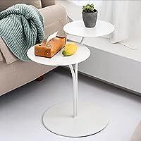 小さなテーブルラウンドメタルサイドテーブル、2層コーヒーテーブル、寝室のベッドサイド/リビングルーム/ソファ/バルコニー用のホワイトブラックモダンエンドテーブル(色:02)