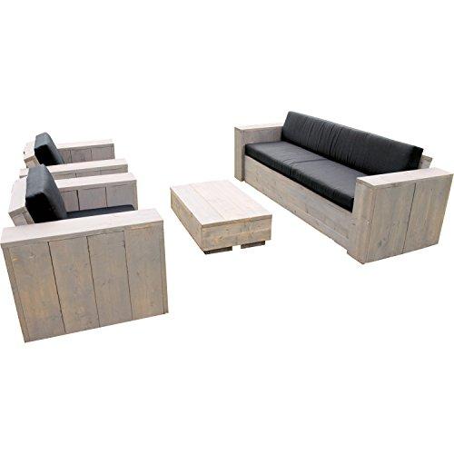 Bauholz Möbel Gartenmöbel Garnitur Lounge Set Tisch, 2 Sessel, 1 Bank