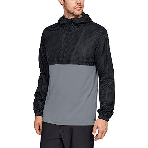 Under Armour Chaqueta Anorak de viento de estilo deportivo para hombre, Hombre, Chaqueta, 1311107-004, negro y gris, L