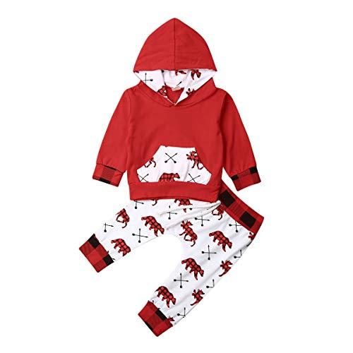 Geagodelia Babykleidung Set Baby Jungen Mädchen Kleidung Langarm Kapuzenpullover Top + Hose Neugeborene Kleinkinder Weiche Babyset Weihnachtsoutfit T-20839 (0-3 Monate, Rot & Weiß 541)