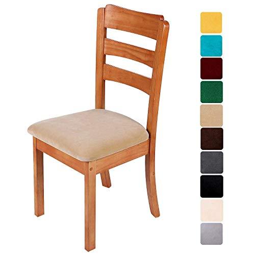 Homaxy Stuhlbezug Sitzfläche Samt Weich Sitzbezug Stuhl Stretch-sitzbezüge für Esszimmerstühle Abwaschbar Schonbezug Hussen für Stühle- 4er Set, Cream