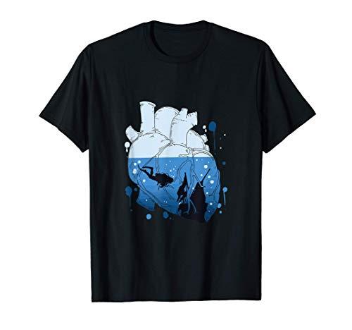 Regalo divertido de buceo para buzos Corazón Camiseta