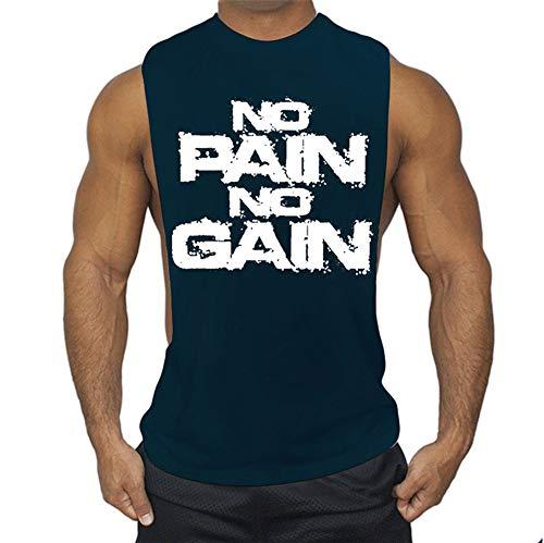 FENGCHENG Herren No Pain No Gain Weste für Herren Ärmelloses Männer Tank Top T-Shirt Bodybuilding Sport Fitness Weste (dunkelblau,XXL)