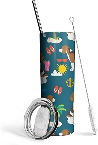 Cute Beagle Dog Summer Beach 20oz Skinny Stainless Steel Tumbler with Lids and Straws Environmental product image