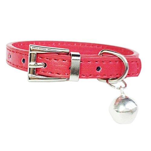 Hot Cute Bell Halskette Solide Einstellbare Hundehalsband Kleine Hundehalsband Katze Halsbänder (Red)
