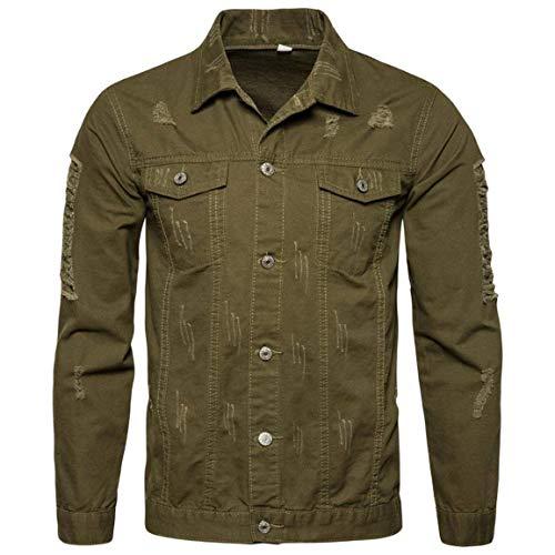 Männer Nner Herbst Langarm Demin Outwear,Moonuy Herren Bekleidung Langarm Winter Demin Jacke Tops Outwear Style Demin Shirt (Color : Armeegrün, Size : 2XL)