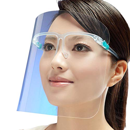 Visor con Gafas Protector Facial Visor de Seguridad Transparente Sombrero Protector Antipolución Reutilizable Anti Humo Tapa Protección para Cara Evita Saliva (Transparente, Unico)