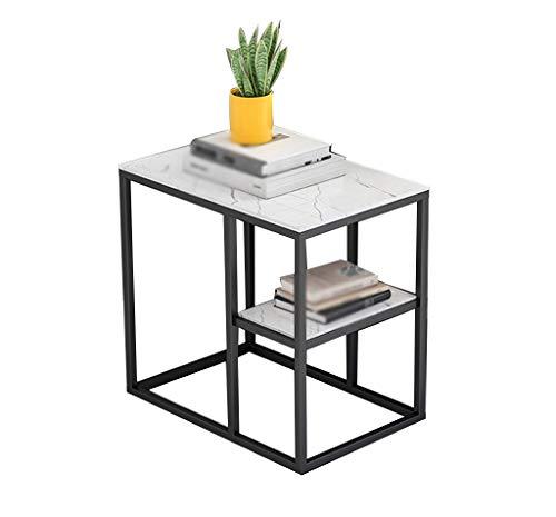 Mesa auxiliar de metal de doble capa para oficina o hotel o noche con revistas. Tamaño de la bandeja: 55 x 40 x 60 cm.