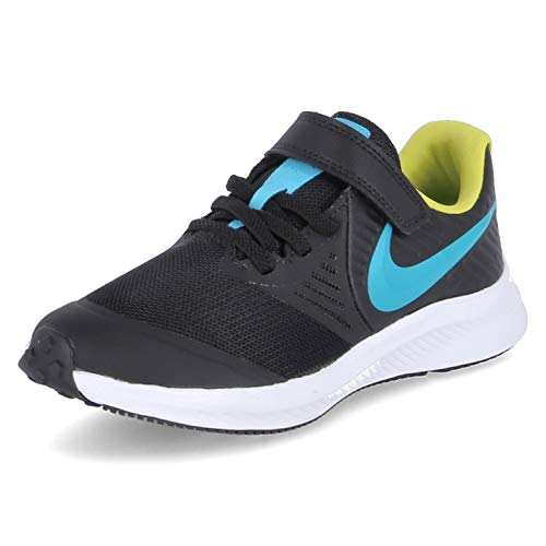 Nike Star Runner 2 (PSV), Zapatillas para Correr Unisex niños, Black Chlorine Blue High Voltage White, 34 EU