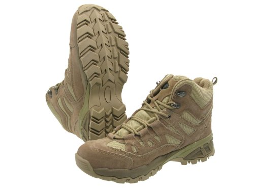 Mil-Tec Leichter, knöchelhoher Stiefel -Trooper- aus Leder, mit Nyloneinsätzen, gepolstert - TAN, Größe:US 6